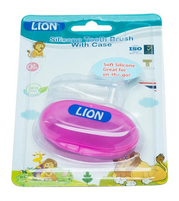 LION SILICONE TONGUE & TOOTH BRUSH WITH CASE