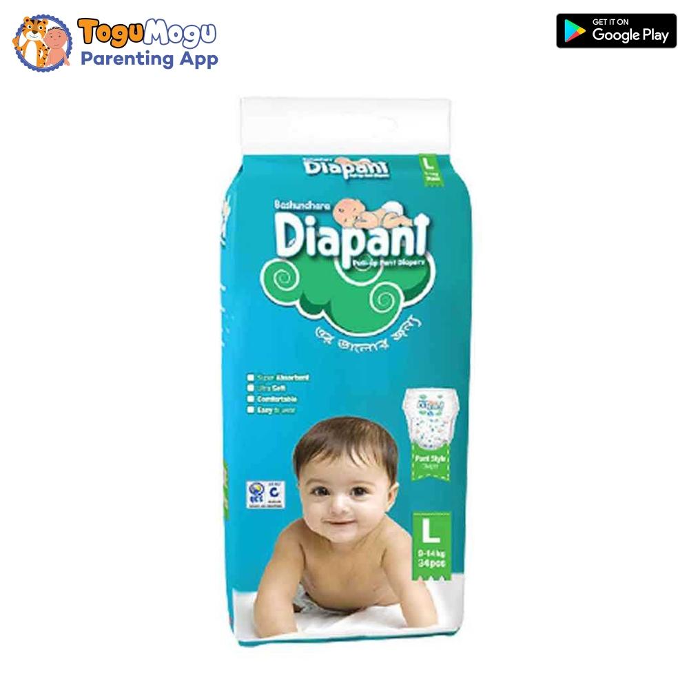 Bashundhara Diapant Baby Diaper L 9-14 kg 34 pcs