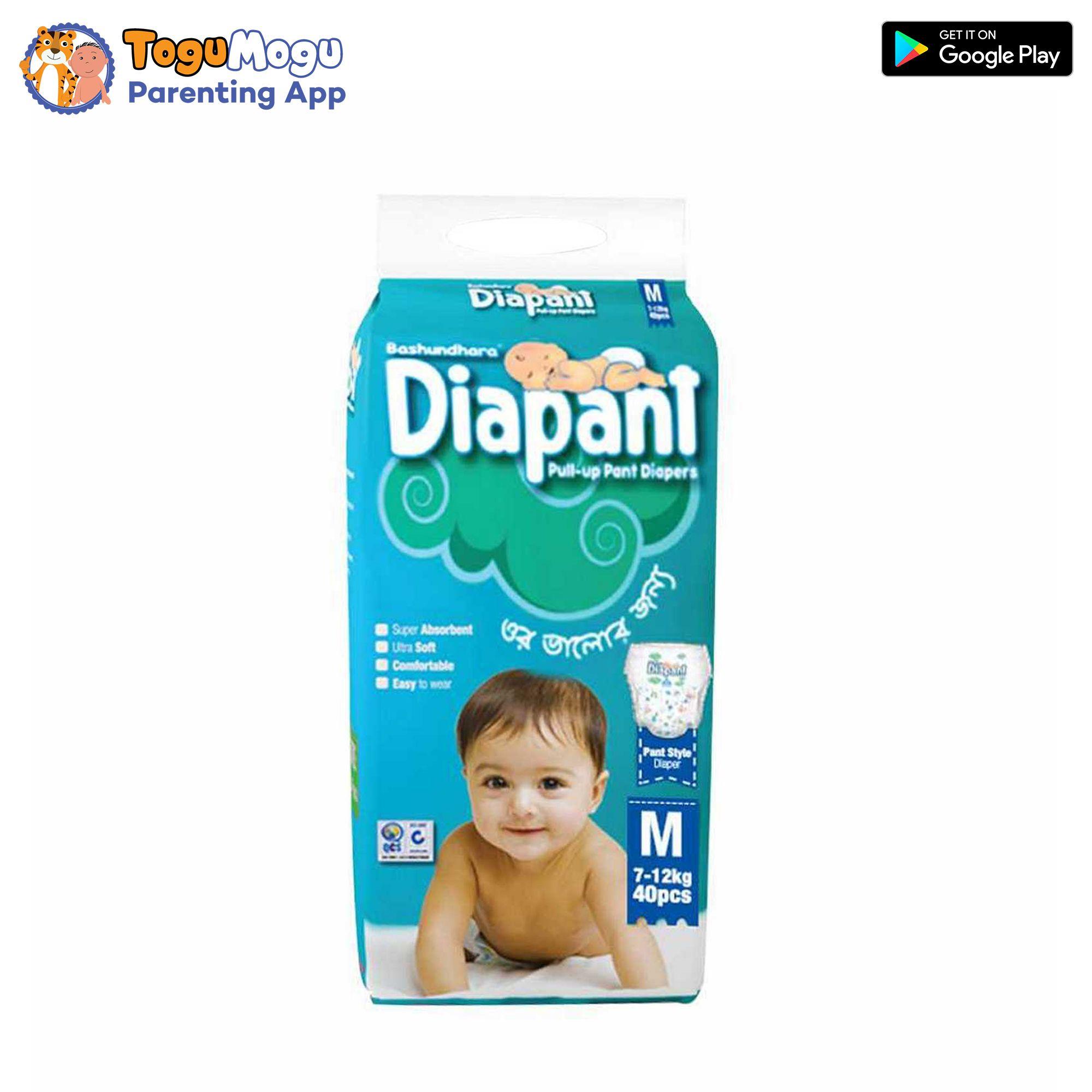 Bashundhara Diapant Baby Diaper M 7-12 kg 40 pcs