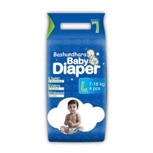 Bashundhara Baby Diaper Belt L 7-18 kg - 4 pcs