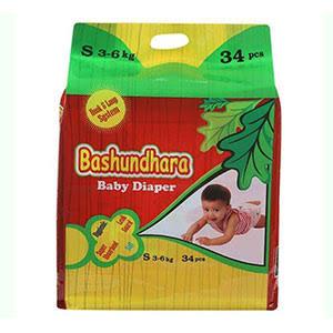 Bashundhara Baby Diaper S (3-6 Kg) 34 pcs