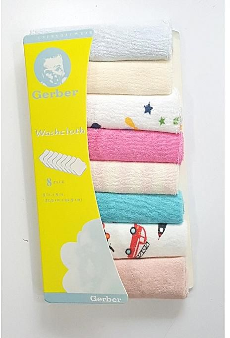 Gerber Wash Cloths 8 pcs Pack (Small Wash Towel Set)