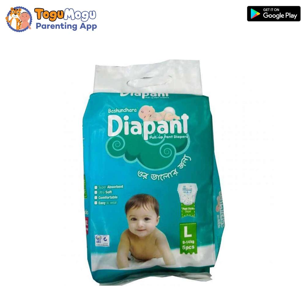 Bashundhara Baby Pant Diaper Pant L Size 9-14 kg – 5 pcs
