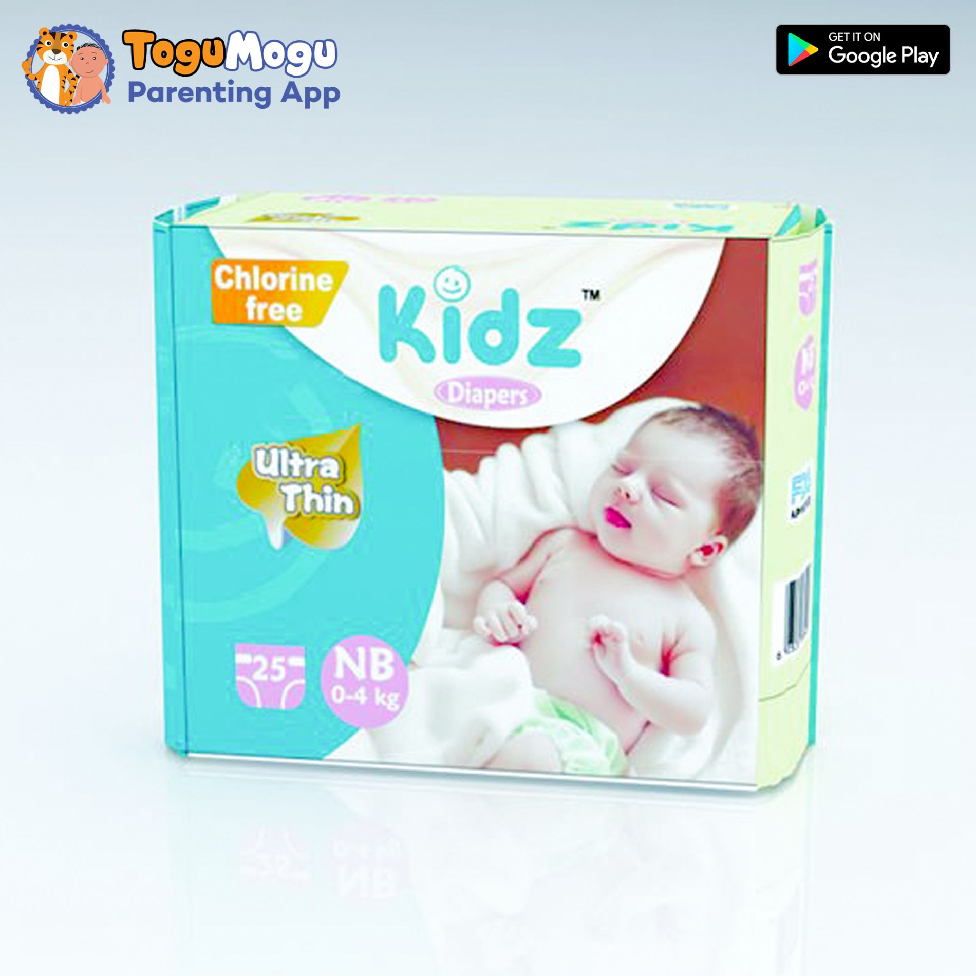 Kidz Diapers NB (0-4kg) 12Pcs