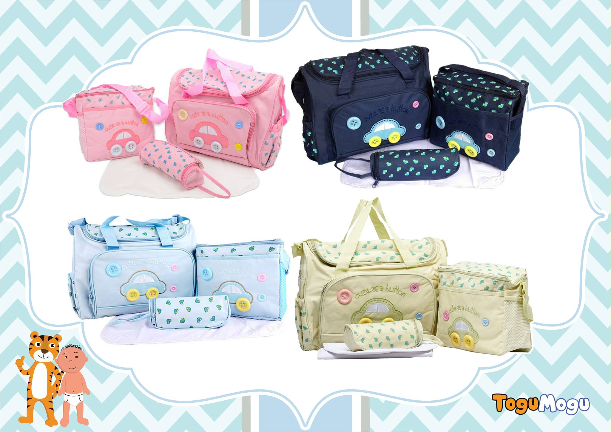 Multi-functional Nappy Bag Set - 4 in 1(Color and Print may vary with picture)