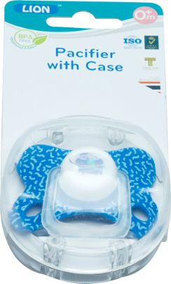 LION SILICONE PACIFIER WITH CASE 1 PC BLISTER CARD