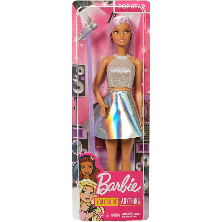 Barbie®Pop Star Doll, Pink Hair with Microphone FXN98