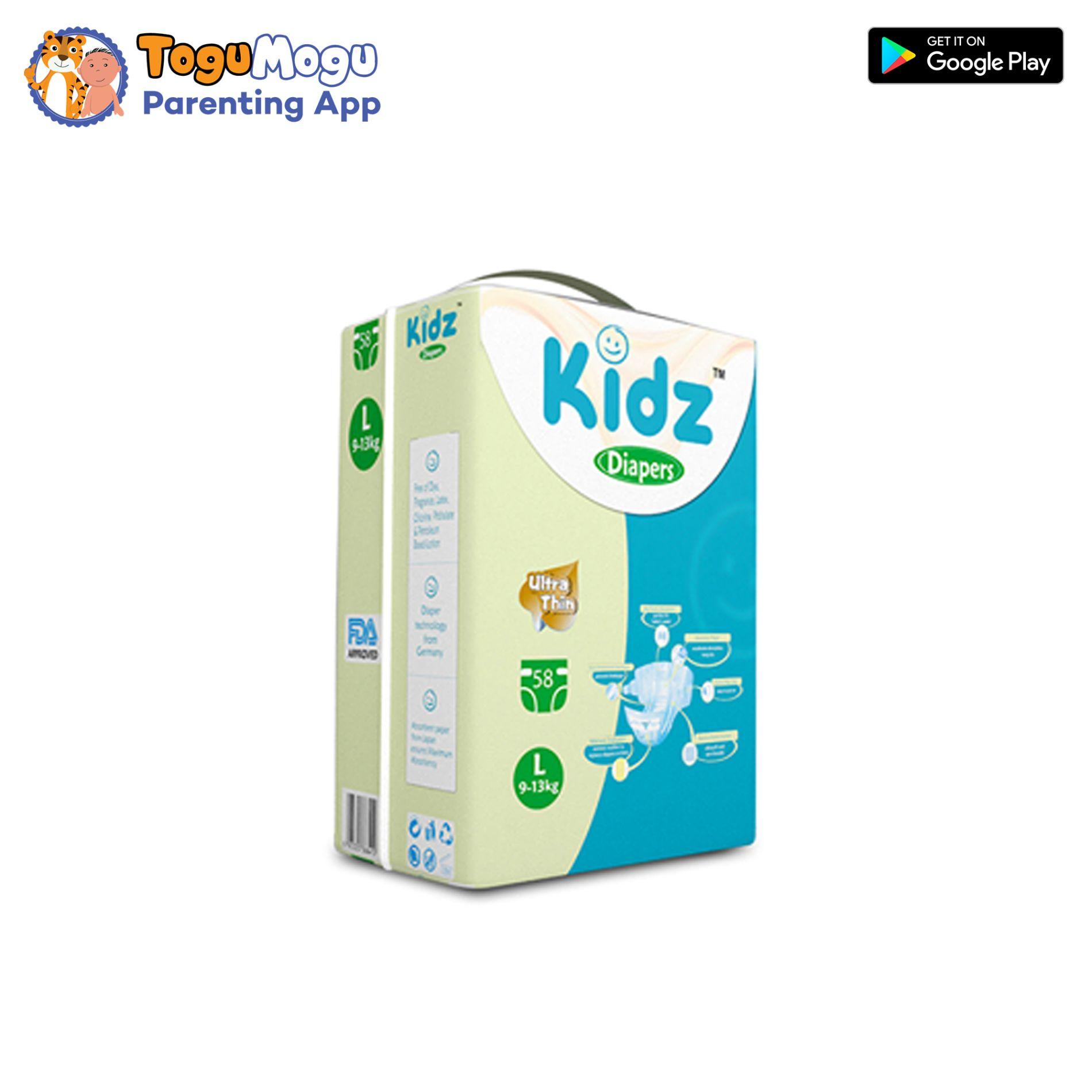 kidz Diapers L(9-13kg) 58Pcs