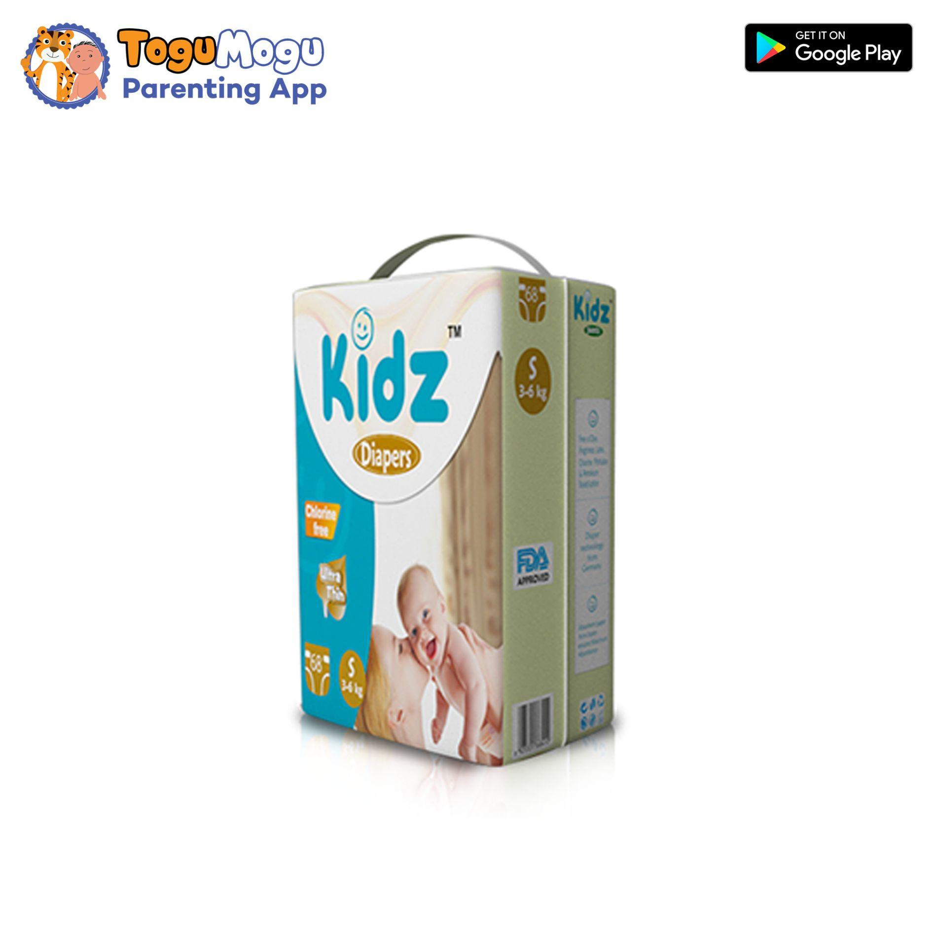 kidz Diapers S (3-6kg) 68Pcs