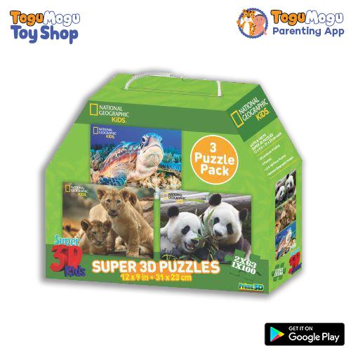 National Geographic 10207 Lion,Panda & Sea Turtle 3D Puzzle