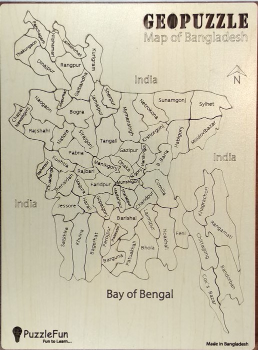 Puzzle Fun Bangladesh Map Puzzle (District Level) (English Version)